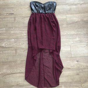 Stella Tweed Burgundy Strapless High-Low Dress